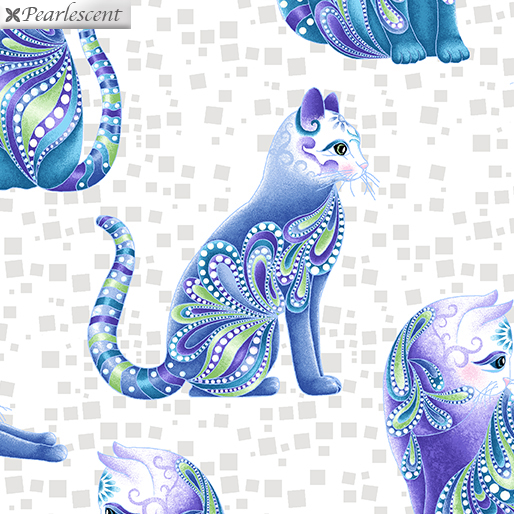 Benartex Cat I Tude Singing The Blues White Background